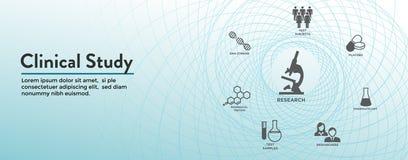 Kliniskt baner för studierengöringsduktitelrad & symbolsuppsättning stock illustrationer