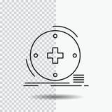 Kliniskt digitalt, hälsa, sjukvård, telemedicinelinje symbol på genomskinlig bakgrund Svart symbolsvektorillustration vektor illustrationer