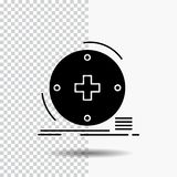 Kliniskt digitalt, vård-, sjukvård, telemedicineskårasymbol på genomskinlig bakgrund Svart symbol vektor illustrationer