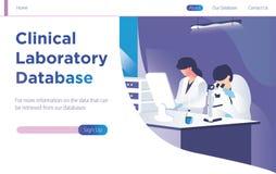 Kliniskt laboratoriumdatabasbegrepp med folk som gör forskning och studien Landa den moderna sidamallillustrationen - Vec stock illustrationer