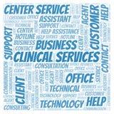 Kliniskt moln för serviceord stock illustrationer