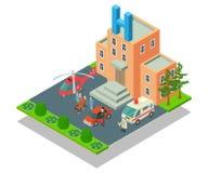 Kliniskt sjukhusbegreppsbaner, isometrisk stil stock illustrationer