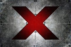 Klinknagel op metaalplaat en rode koolstofvezel alfabet x op medio Royalty-vrije Stock Fotografie