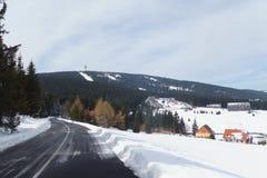 Klinovec Krusne hory Tjeckien Arkivfoton