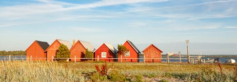 Klintehamn. Fisherman cottages in Klintehamn in Gotland Sweden Royalty Free Stock Images