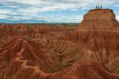 Klip met cactus en vallei van rood oranje zand Royalty-vrije Stock Afbeelding