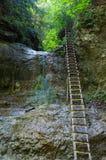 Klip met ladder in Slowaaks Paradijs royalty-vrije stock fotografie