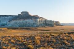 Klip op de rand van het Ustiurt-plateau, Kazachstan Stock Foto