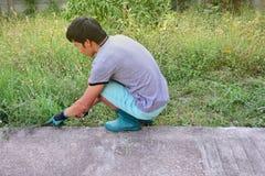 Klipp - arbeta i trädgården i huset royaltyfria foton