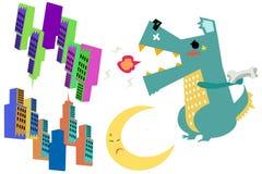 Klipp Art Set: Verfolgen Sie Monster (Godzilla) mit Gebäuden und den Mond, der auf weißem Hintergrund lokalisiert wird Stockfoto