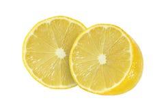 Klipp citronfrukter på vit bakgrund Fotografering för Bildbyråer
