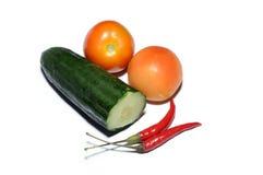 Klipp gurkan, nya tomater och chili Fotografering för Bildbyråer