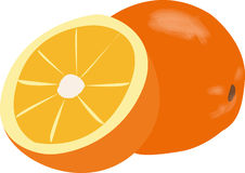 klipp half orangen arkivfoto