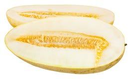 klipp i den halva Uzbekisk-ryss melon som isoleras på vit Arkivfoto