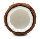Klipp kokosnöten som isoleras på vit fotografering för bildbyråer