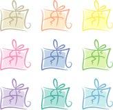 Klipp-Kunst eingestellt: Pastell-farbige Geschenkpakete Stockbilder
