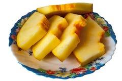 Klipp melon på plattan Fotografering för Bildbyråer