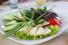 Klipp nytt grönsaker och keso på en platta arkivfoto