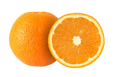 Klipp orange frukter som isoleras på vit bakgrund Arkivfoton