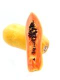 Klipp papayafrukter Arkivfoto