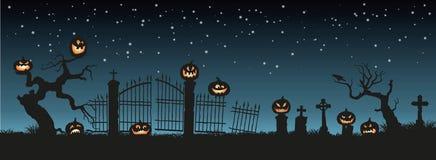 klipp pumpa för personen för halloween ferie ut Svarta konturer av pumpor på kyrkogården på bakgrund för natthimmel Kyrkogård och royaltyfri illustrationer
