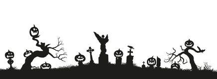 klipp pumpa för personen för halloween ferie ut Svarta konturer av pumpor på kyrkogården på vit bakgrund vektor illustrationer