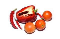 Klipp röd spansk peppar, nya tomater och chili Royaltyfri Bild