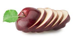 Klipp röda äpplen som isoleras på den vita bakgrunden Royaltyfria Bilder