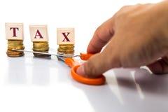 Klipp skattbegreppet med mynt och sax Fotografering för Bildbyråer