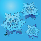 Klipp snowflaken Fotografering för Bildbyråer