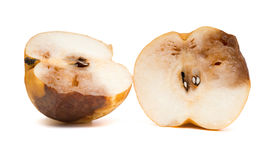 Klipp ut det ruttna äpplet på vit med den snabba banan Fotografering för Bildbyråer