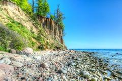 Klippa av Orlowo på det baltiska havet, Polen Arkivfoto