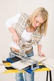 klippa den handywoman hemförbättringtegelplattan Arkivbilder