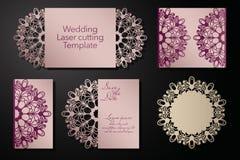 Klippa för laser av ett gifta sig kuvert, hälsningkort, inbjudan Radiell prydnad vektor vektor illustrationer