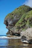 Klippa som ser som ett gigantiskt huvud på kusten Arkivfoton