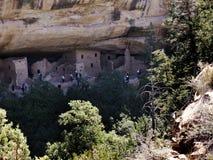 Klippaboningarna i Mesa Verde National Park Colorado USA Det finns omkring 600 klippaboningar med nationalparken Arkivbilder