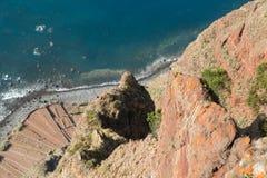 Klippaframsidan av Cabo Girao som sedd raksträcka ner från synvinkel madeira Arkivbild