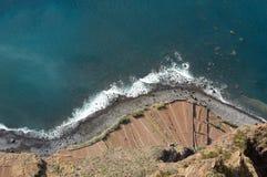 Klippaframsidan av Cabo Girao som sedd raksträcka ner från synvinkel madeira Royaltyfria Bilder