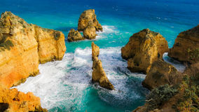Klippe Landschafts-Algarves Portugal Lizenzfreie Stockfotografie