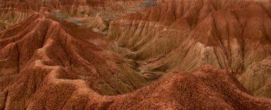 Klippe mit Kaktus und Tal des roten orange Sandes Stockfotografie