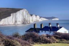 Klippe mit sieben Schwestern in Ostsussex England Lizenzfreies Stockfoto