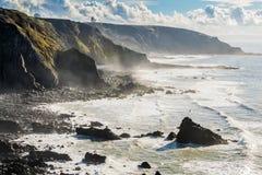 Klippe in Nord-Cornwall nahe Morwenstow Lizenzfreies Stockfoto