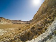 Klippe am Rand der Ustiurt-Hochebene, Kasachstan Lizenzfreies Stockfoto