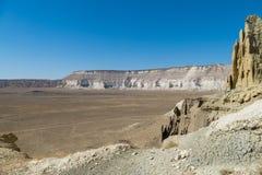 Klippe am Rand der Ustiurt-Hochebene, Kasachstan Stockfotos