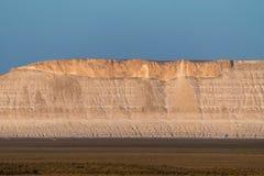 Klippe am Rand der Ustiurt-Hochebene, Kasachstan Stockfotografie