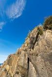 Klippe in Riomaggiore Ligurien Italien Stockfotografie