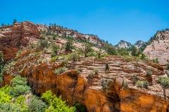 Klippen en canions in Zion National Park De Natuurreservaten van de V.S. stock foto