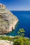 Klippen en Maltese mediterrane zeekust dichtbij de Blauwe Grot, royalty-vrije stock foto's