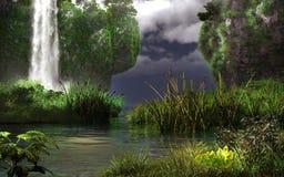 Klippen en waterval Stock Foto
