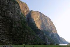 Klippen in Lysefjord, Noorwegen Royalty-vrije Stock Afbeelding